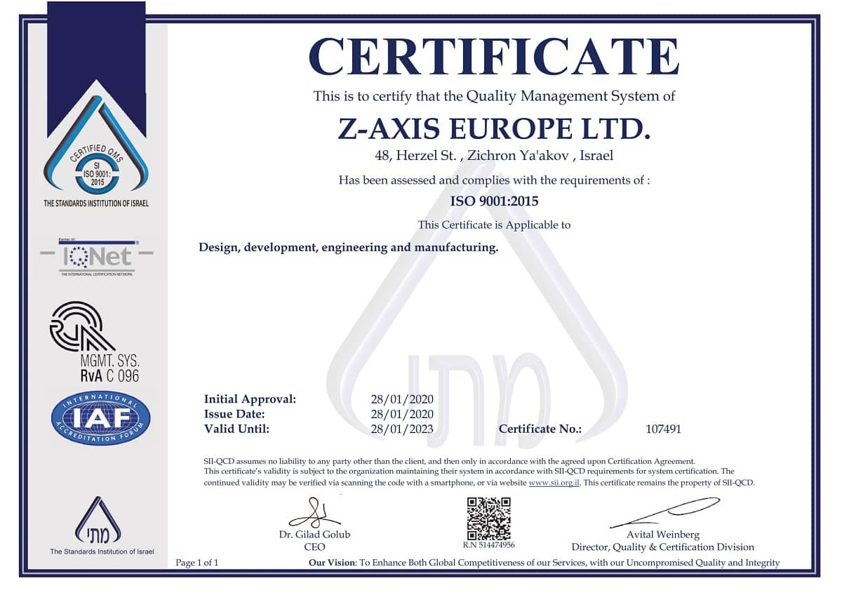 Z-Axis Europe ISO 9001:2015 certified company